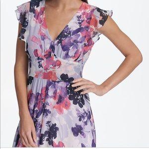 DKNY Floral Chiffon Ruffle Cap Sleeve Maxi 14